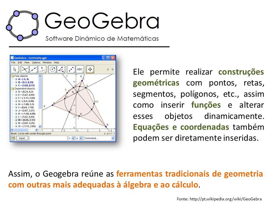 Ele permite realizar construções geométricas com pontos, retas, segmentos, polígonos, etc., assim como inserir funções e alterar esses objetos dinamicamente. Equações e coordenadas também podem ser diretamente inseridas.