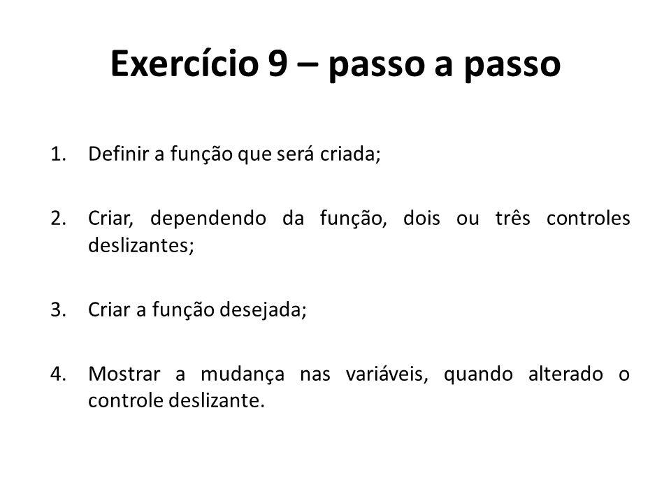 Exercício 9 – passo a passo