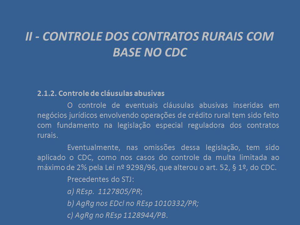 II - CONTROLE DOS CONTRATOS RURAIS COM BASE NO CDC