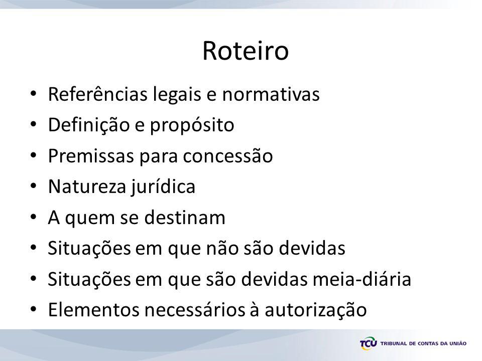 Roteiro Referências legais e normativas Definição e propósito