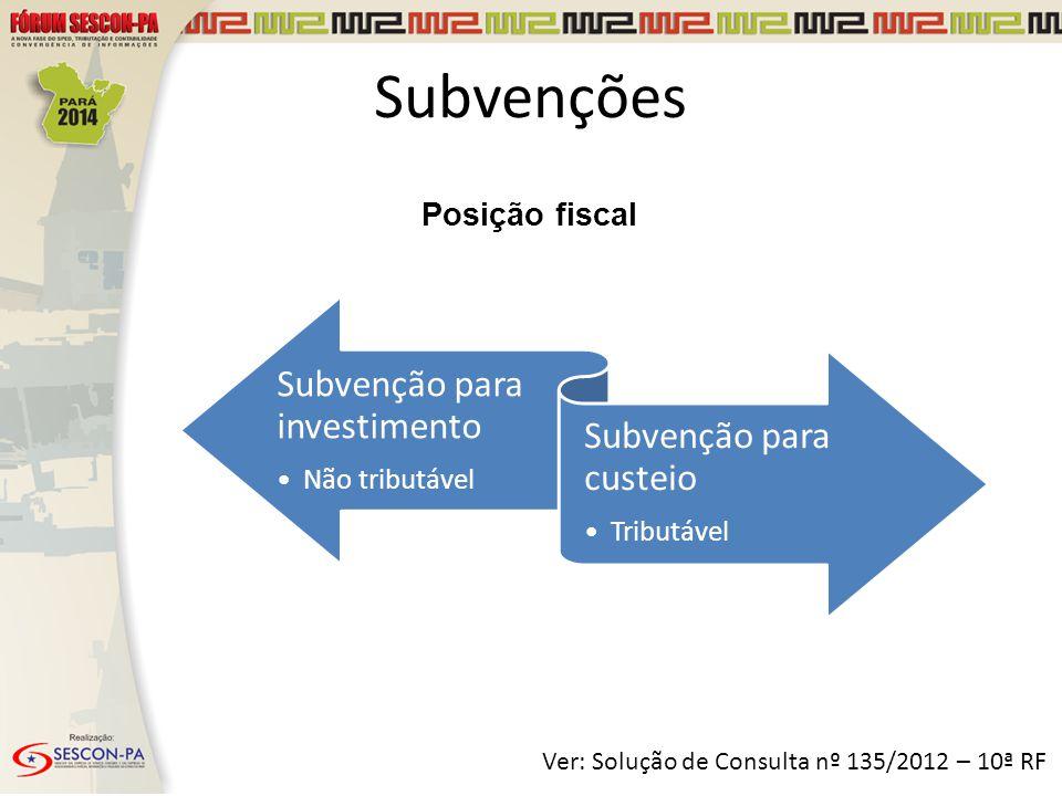 Subvenções Subvenção para investimento Subvenção para custeio
