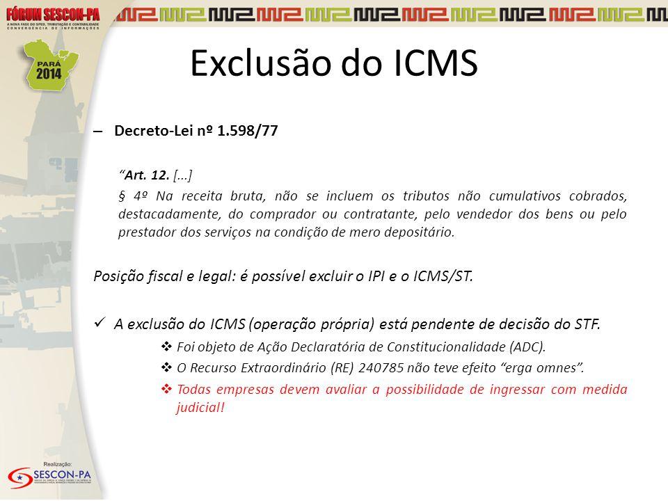 Exclusão do ICMS Decreto-Lei nº 1.598/77