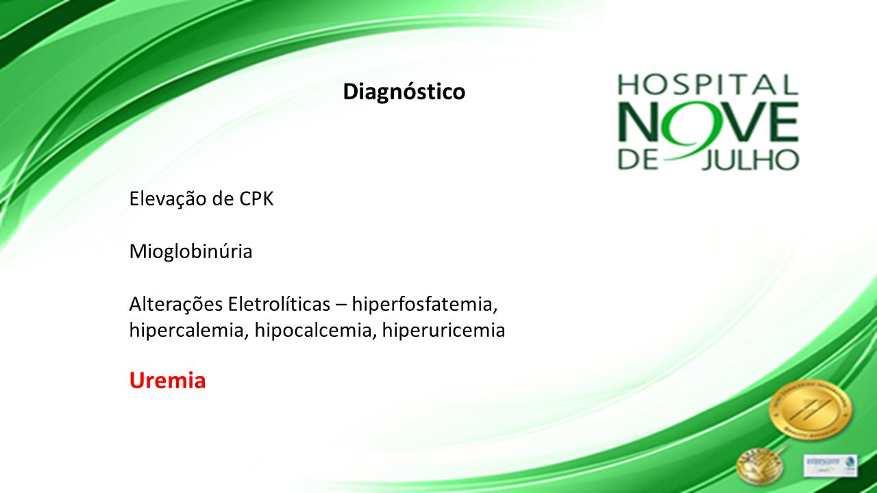 Diagnóstico Uremia Elevação de CPK Mioglobinúria