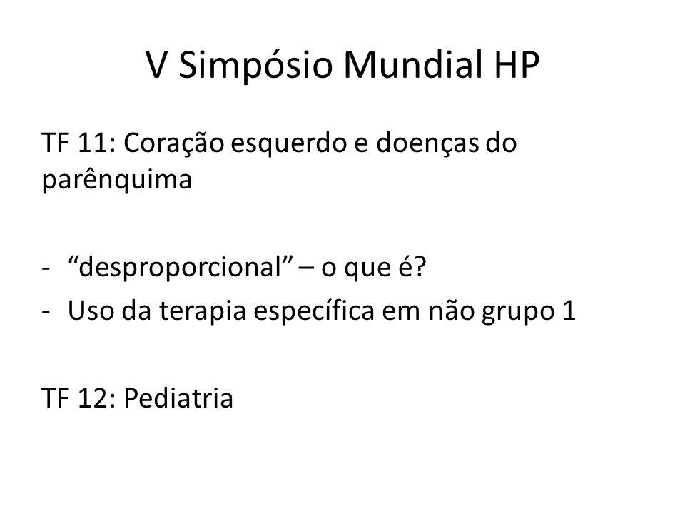 V Simpósio Mundial HP TF 11: Coração esquerdo e doenças do parênquima
