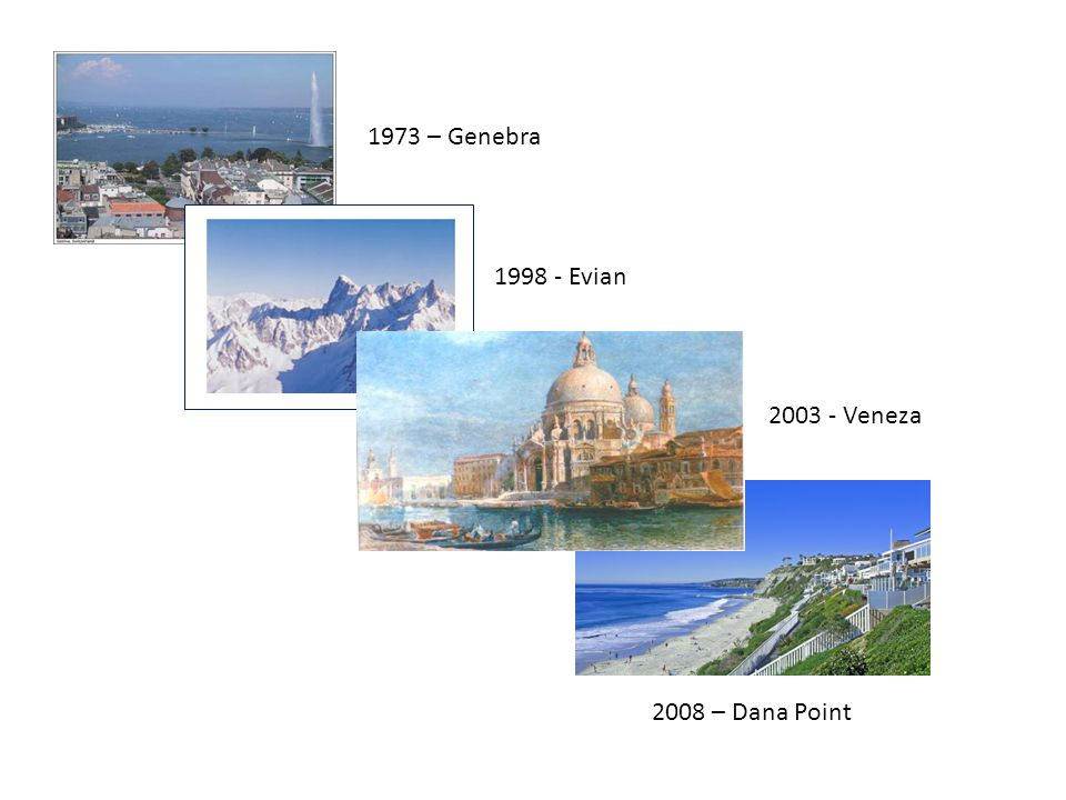 1973 – Genebra 1998 - Evian 2003 - Veneza 2008 – Dana Point