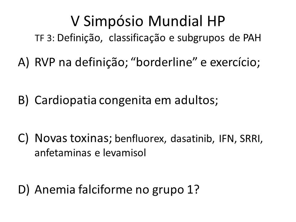 V Simpósio Mundial HP TF 3: Definição, classificação e subgrupos de PAH