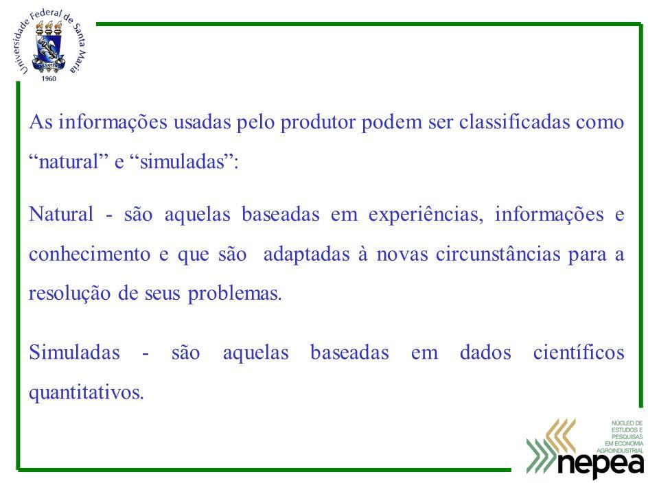 As informações usadas pelo produtor podem ser classificadas como natural e simuladas :