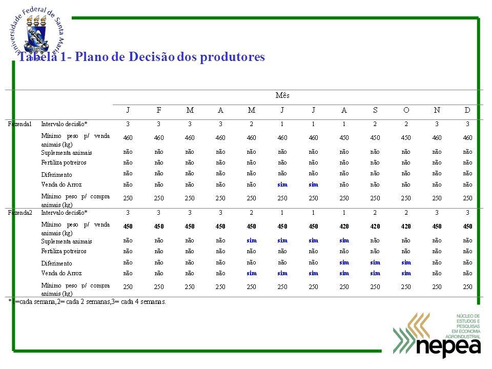 Tabela 1- Plano de Decisão dos produtores