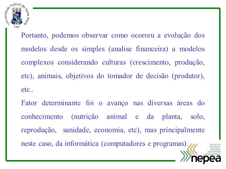 Portanto, podemos observar como ocorreu a evolução dos modelos desde os simples (analise financeira) a modelos complexos considerando culturas (crescimento, produção, etc), animais, objetivos do tomador de decisão (produtor), etc..