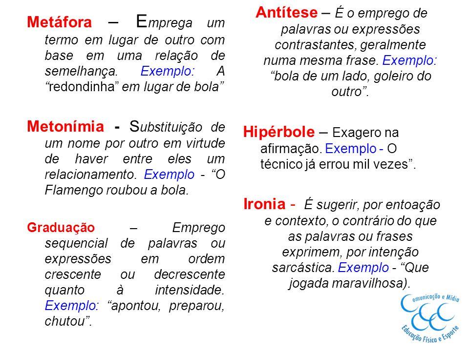 Antítese – É o emprego de palavras ou expressões contrastantes, geralmente numa mesma frase. Exemplo: bola de um lado, goleiro do outro .