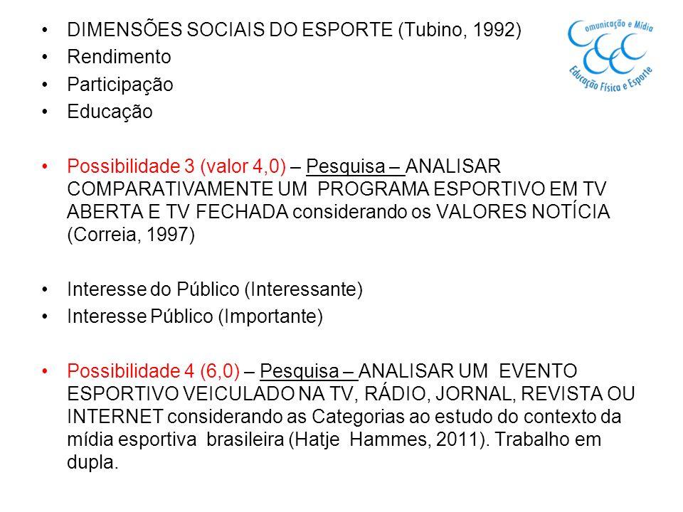 DIMENSÕES SOCIAIS DO ESPORTE (Tubino, 1992)