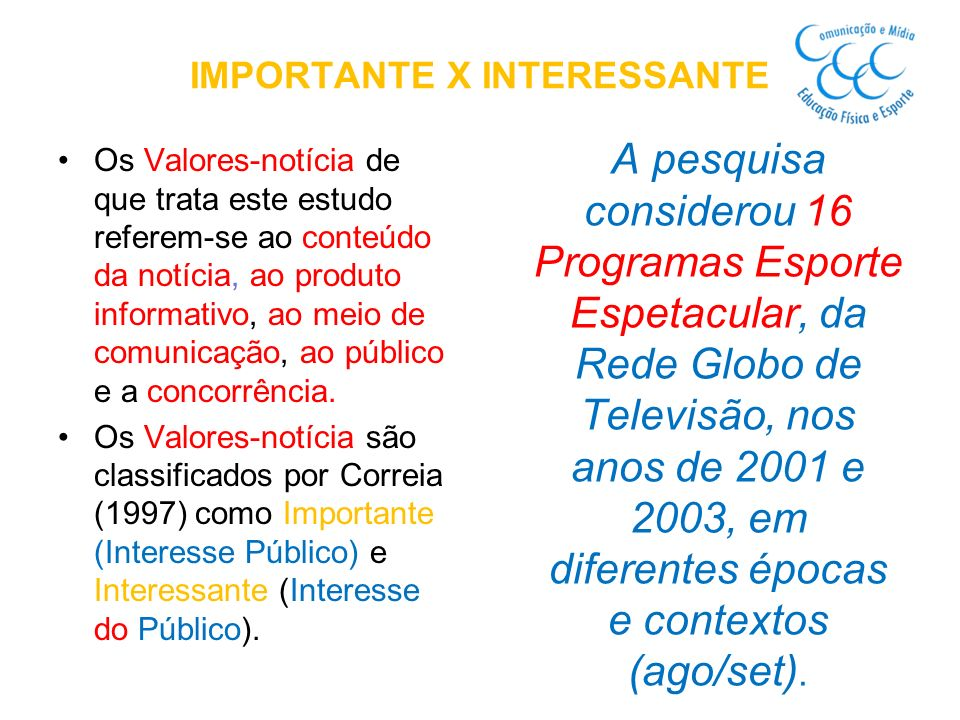 IMPORTANTE X INTERESSANTE