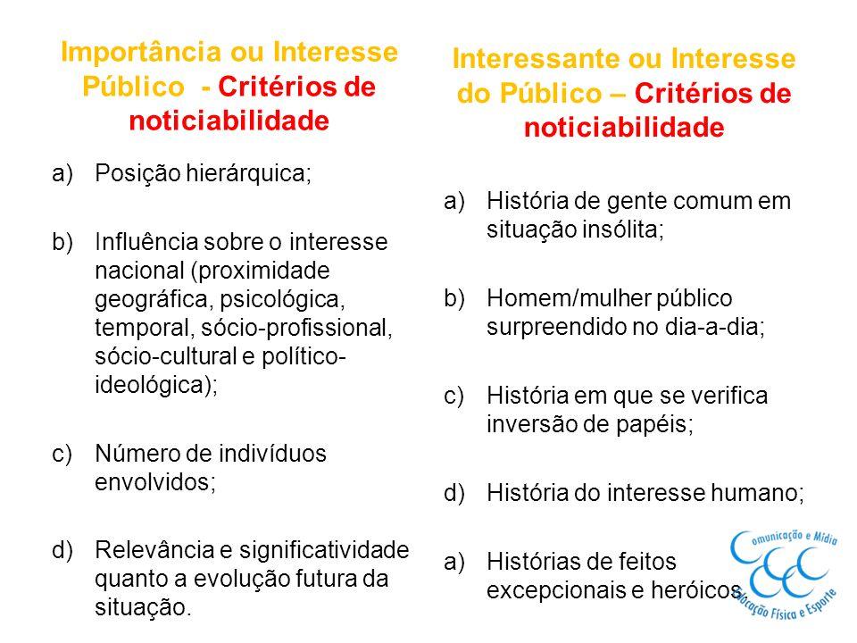 Importância ou Interesse Público - Critérios de noticiabilidade
