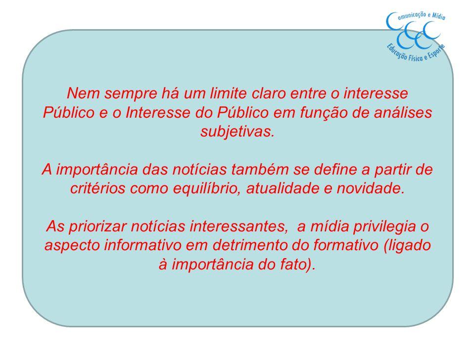 Nem sempre há um limite claro entre o interesse Público e o Interesse do Público em função de análises subjetivas.