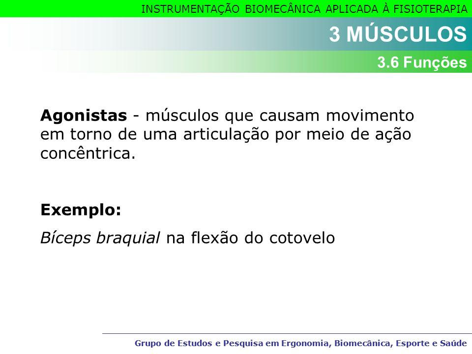 3 MÚSCULOS 3.6 Funções. Agonistas - músculos que causam movimento em torno de uma articulação por meio de ação concêntrica.
