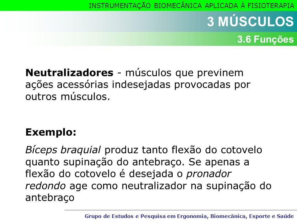 3 MÚSCULOS 3.6 Funções. Neutralizadores - músculos que previnem ações acessórias indesejadas provocadas por outros músculos.