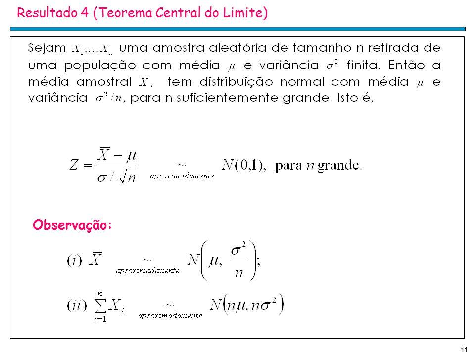 Resultado 4 (Teorema Central do Limite)