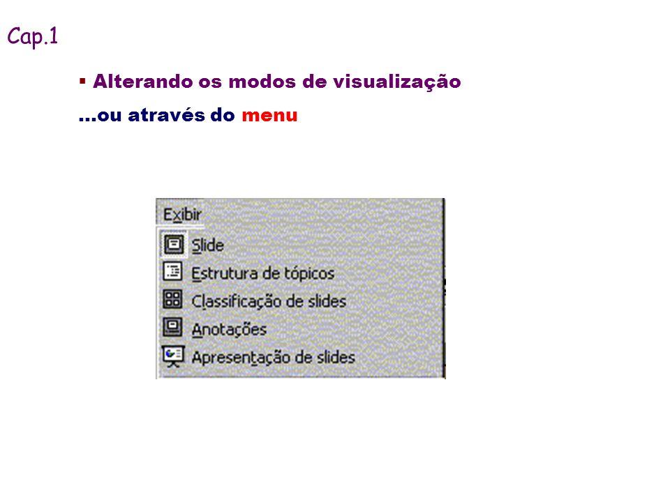 Cap.1 Alterando os modos de visualização ...ou através do menu