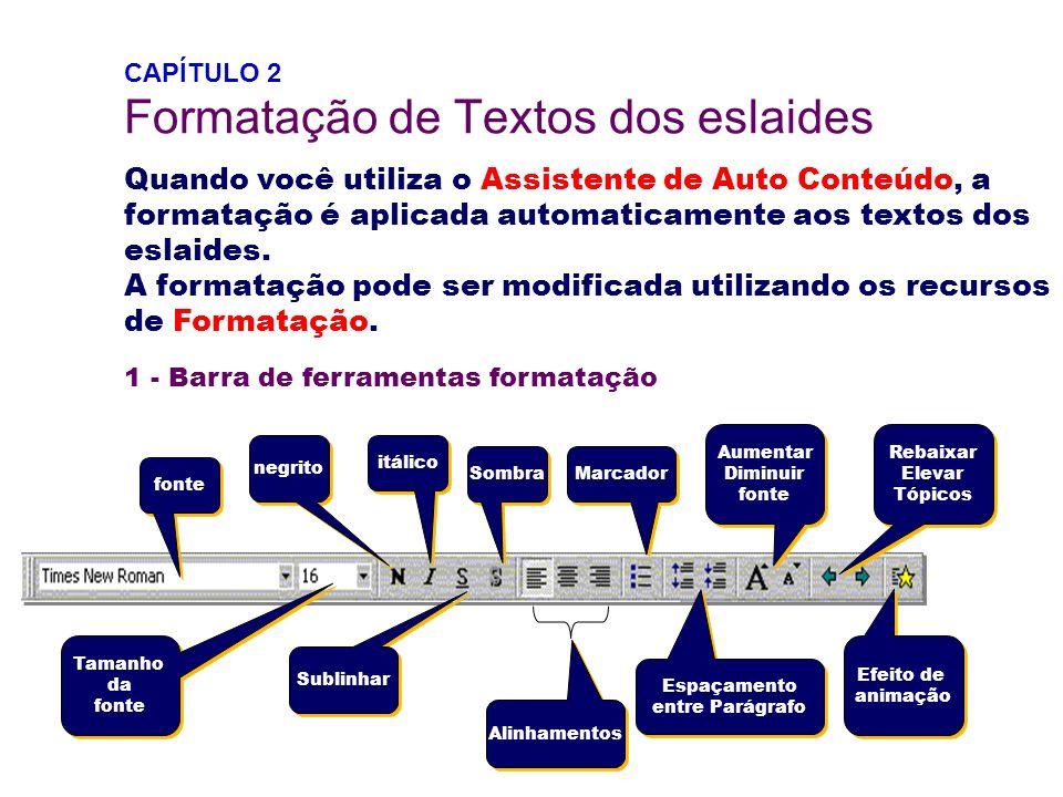 CAPÍTULO 2 Formatação de Textos dos eslaides