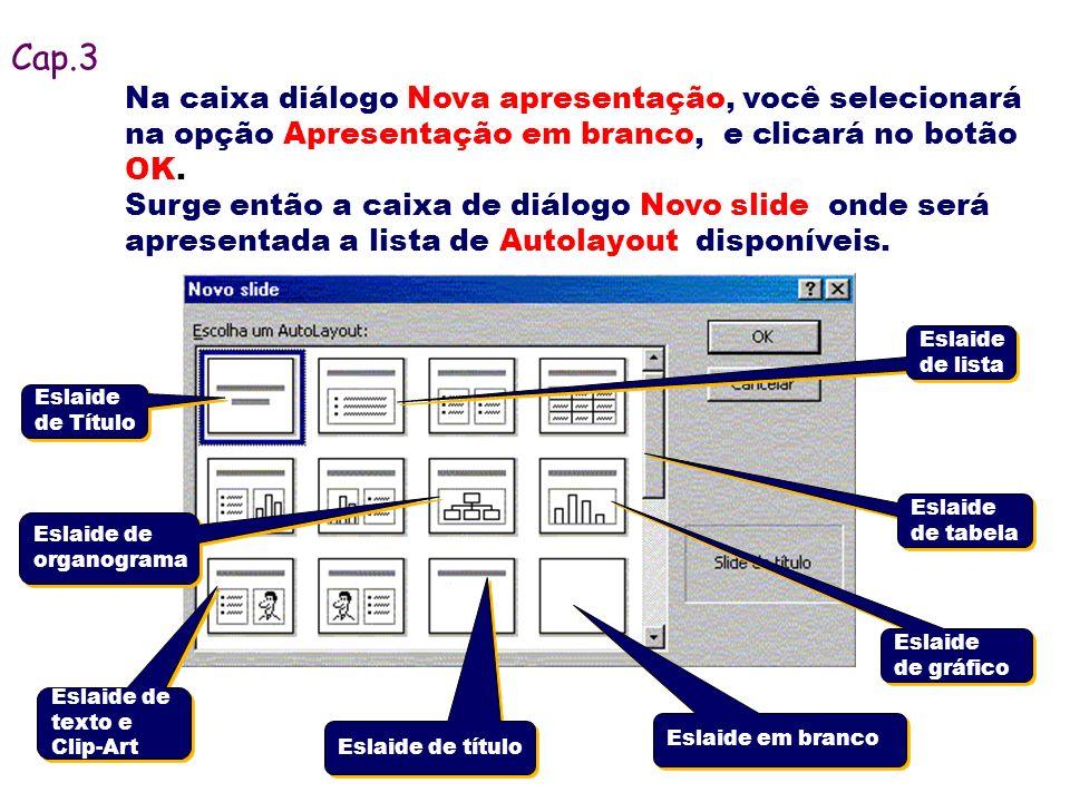 Cap.3 Na caixa diálogo Nova apresentação, você selecionará na opção Apresentação em branco, e clicará no botão OK.