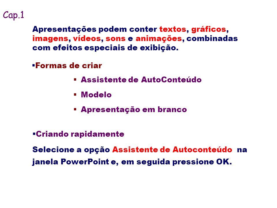 Cap.1Apresentações podem conter textos, gráficos, imagens, vídeos, sons e animações, combinadas com efeitos especiais de exibição.