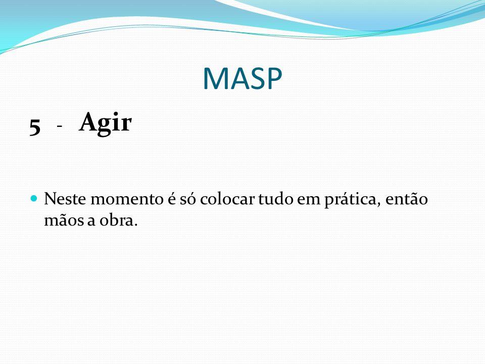 MASP 5 - Agir Neste momento é só colocar tudo em prática, então mãos a obra.