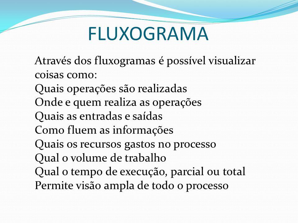 FLUXOGRAMA Através dos fluxogramas é possível visualizar coisas como: