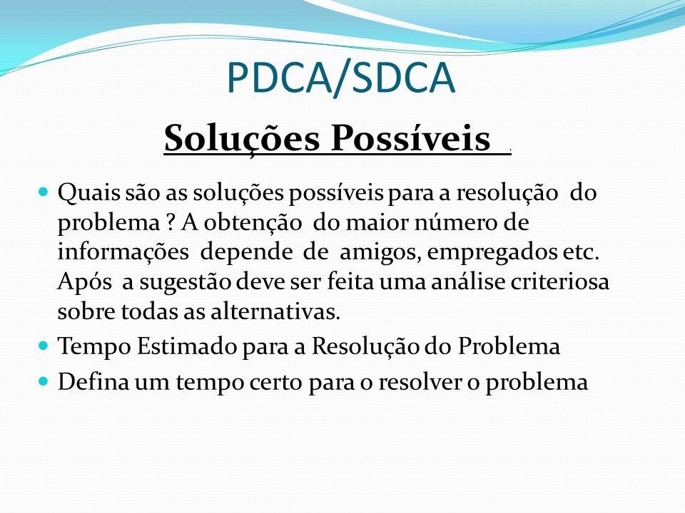 PDCA/SDCA Soluções Possíveis .