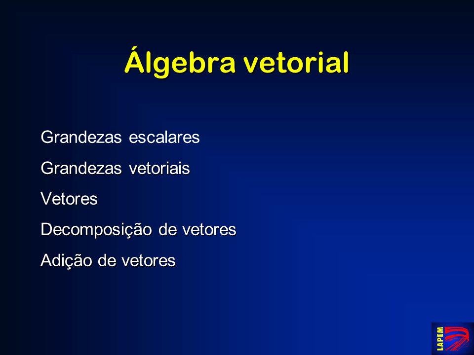 Álgebra vetorial Grandezas escalares Grandezas vetoriais Vetores