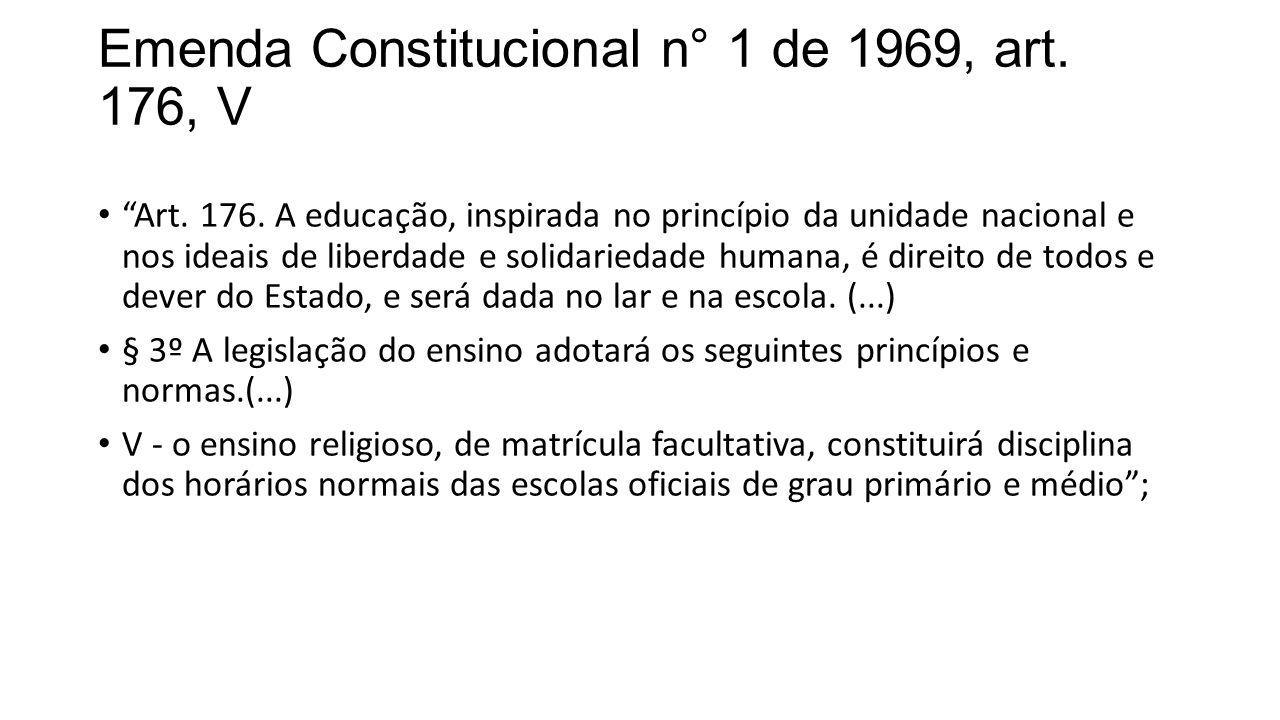 Emenda Constitucional n° 1 de 1969, art. 176, V