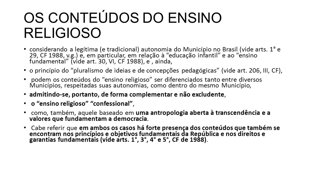 OS CONTEÚDOS DO ENSINO RELIGIOSO
