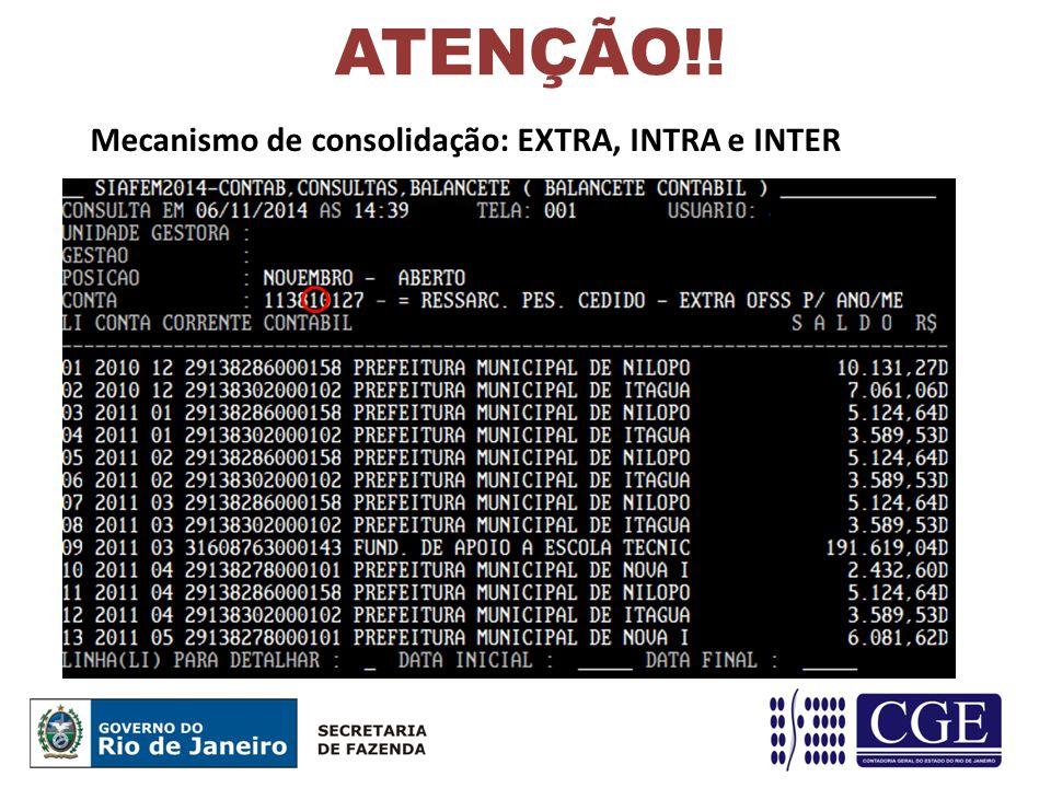 ATENÇÃO!! Mecanismo de consolidação: EXTRA, INTRA e INTER