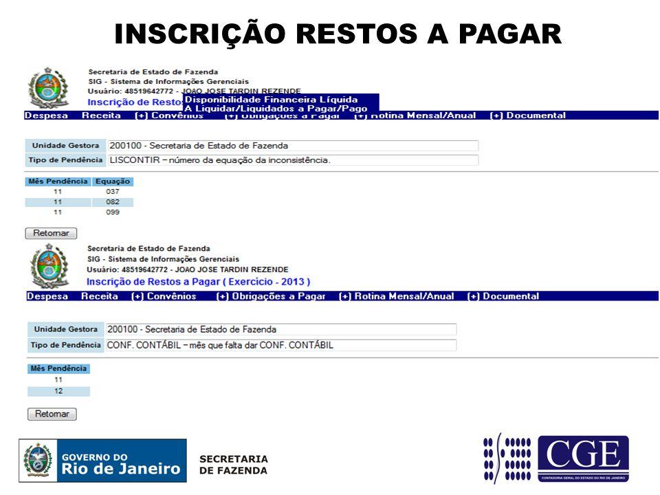 INSCRIÇÃO RESTOS A PAGAR