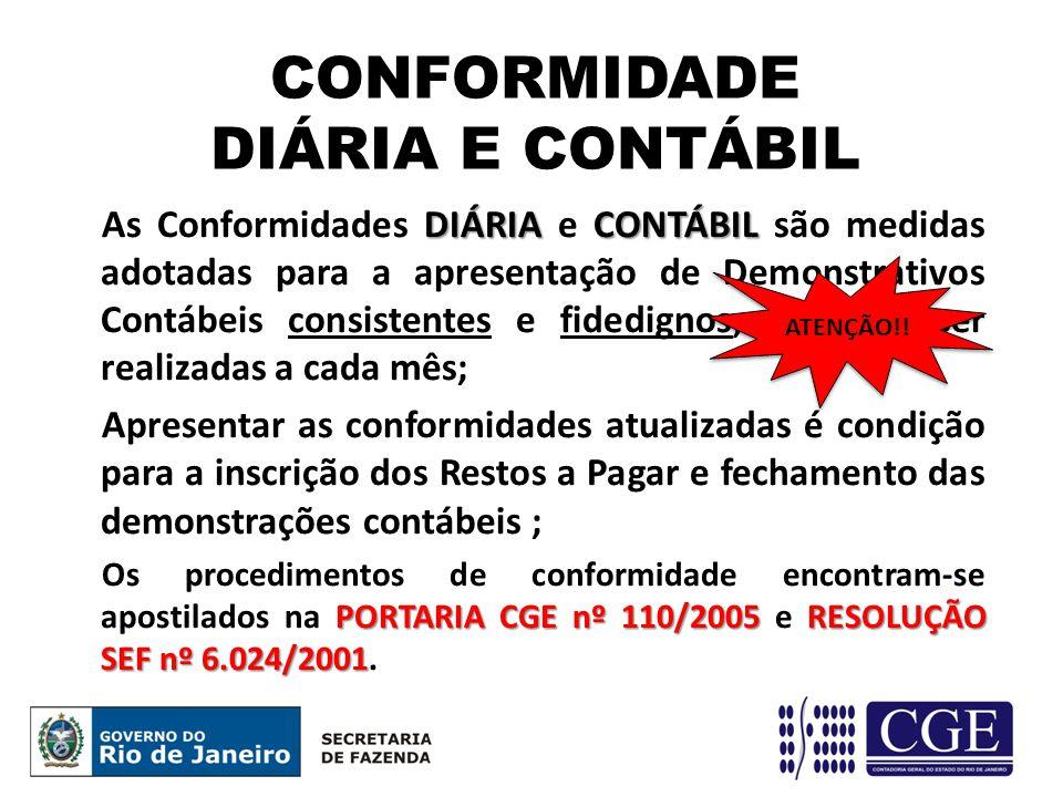 CONFORMIDADE DIÁRIA E CONTÁBIL