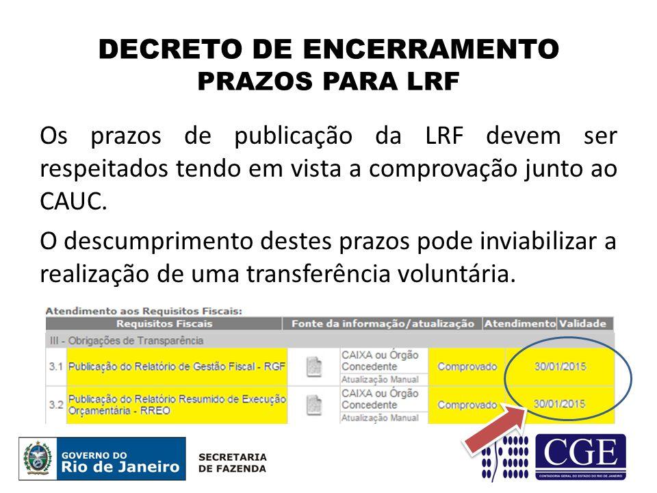 DECRETO DE ENCERRAMENTO PRAZOS PARA LRF