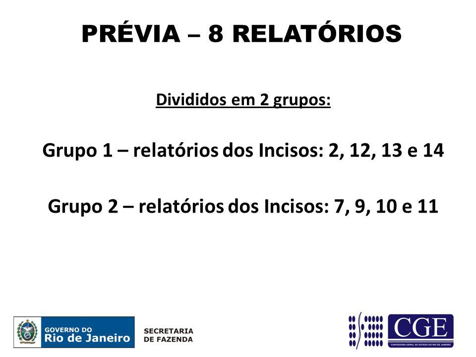 PRÉVIA – 8 RELATÓRIOS Grupo 1 – relatórios dos Incisos: 2, 12, 13 e 14