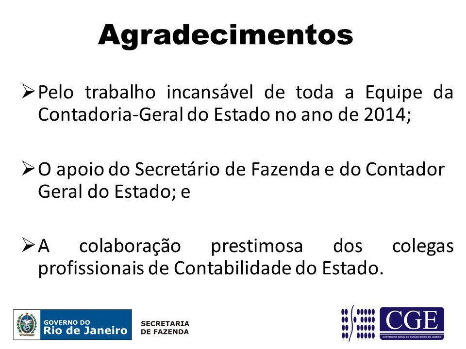 Agradecimentos Pelo trabalho incansável de toda a Equipe da Contadoria-Geral do Estado no ano de 2014;
