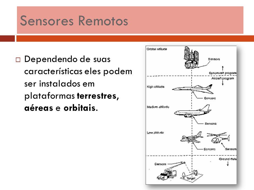 Sensores Remotos Dependendo de suas características eles podem ser instalados em plataformas terrestres, aéreas e orbitais.