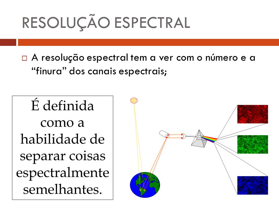 RESOLUÇÃO ESPECTRAL A resolução espectral tem a ver com o número e a finura dos canais espectrais;