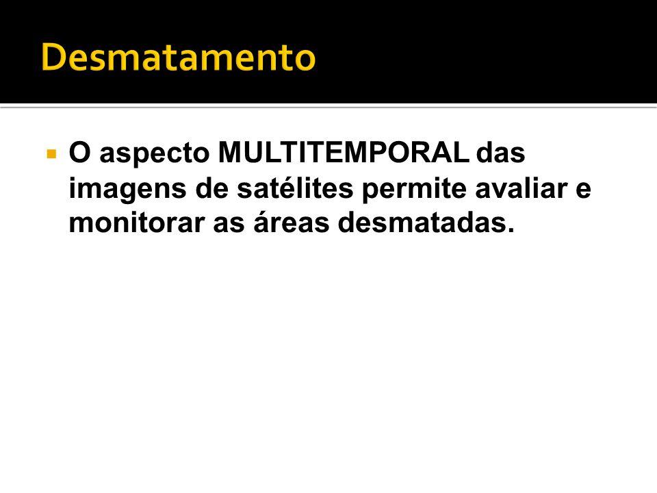 Desmatamento O aspecto MULTITEMPORAL das imagens de satélites permite avaliar e monitorar as áreas desmatadas.
