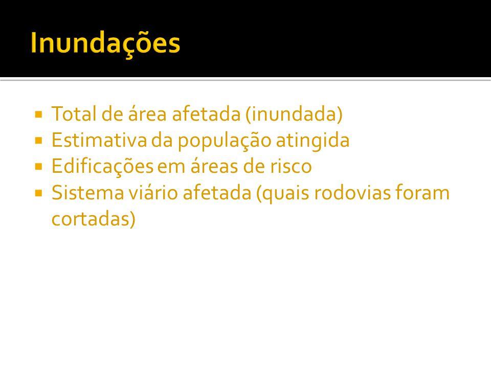 Inundações Total de área afetada (inundada)