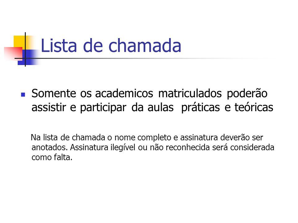 Lista de chamada Somente os academicos matriculados poderão assistir e participar da aulas práticas e teóricas.