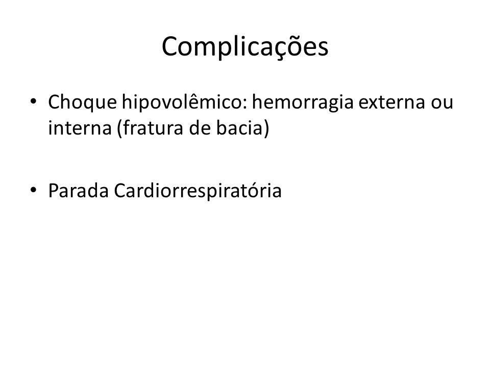 Complicações Choque hipovolêmico: hemorragia externa ou interna (fratura de bacia) Parada Cardiorrespiratória.