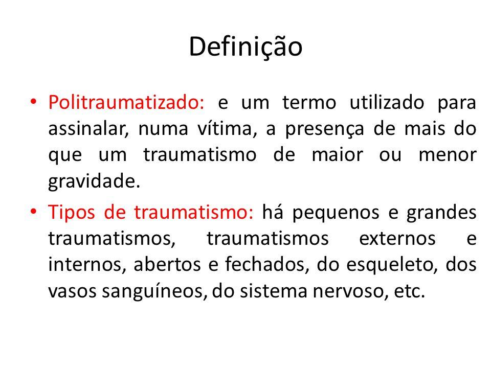 Definição Politraumatizado: e um termo utilizado para assinalar, numa vítima, a presença de mais do que um traumatismo de maior ou menor gravidade.