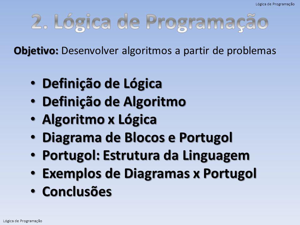 2. Lógica de Programação Definição de Lógica Definição de Algoritmo