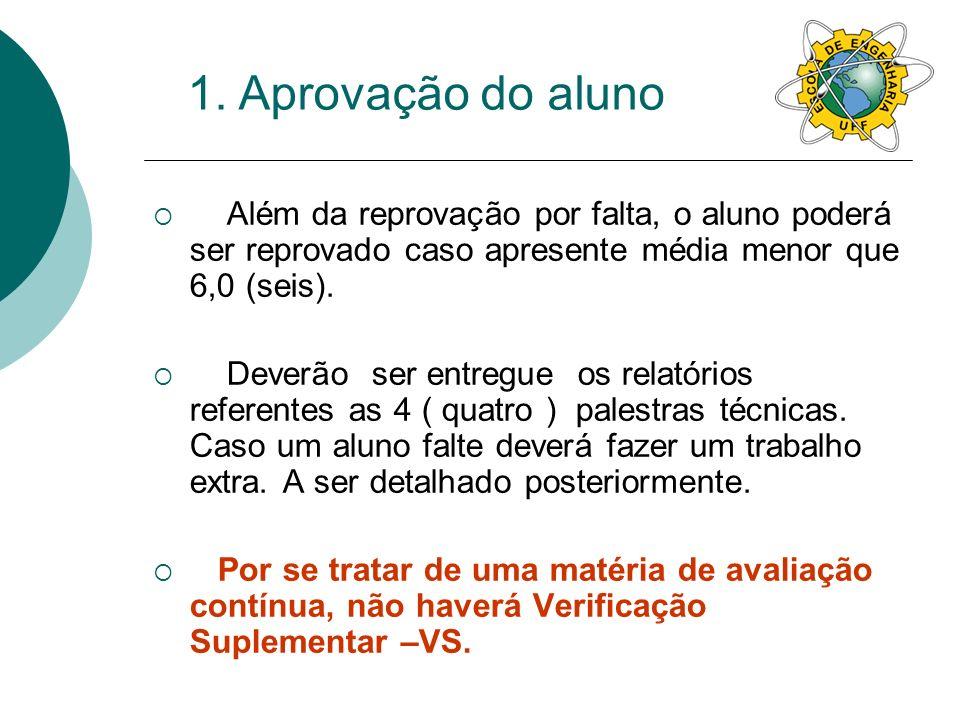 1. Aprovação do aluno Além da reprovação por falta, o aluno poderá ser reprovado caso apresente média menor que 6,0 (seis).