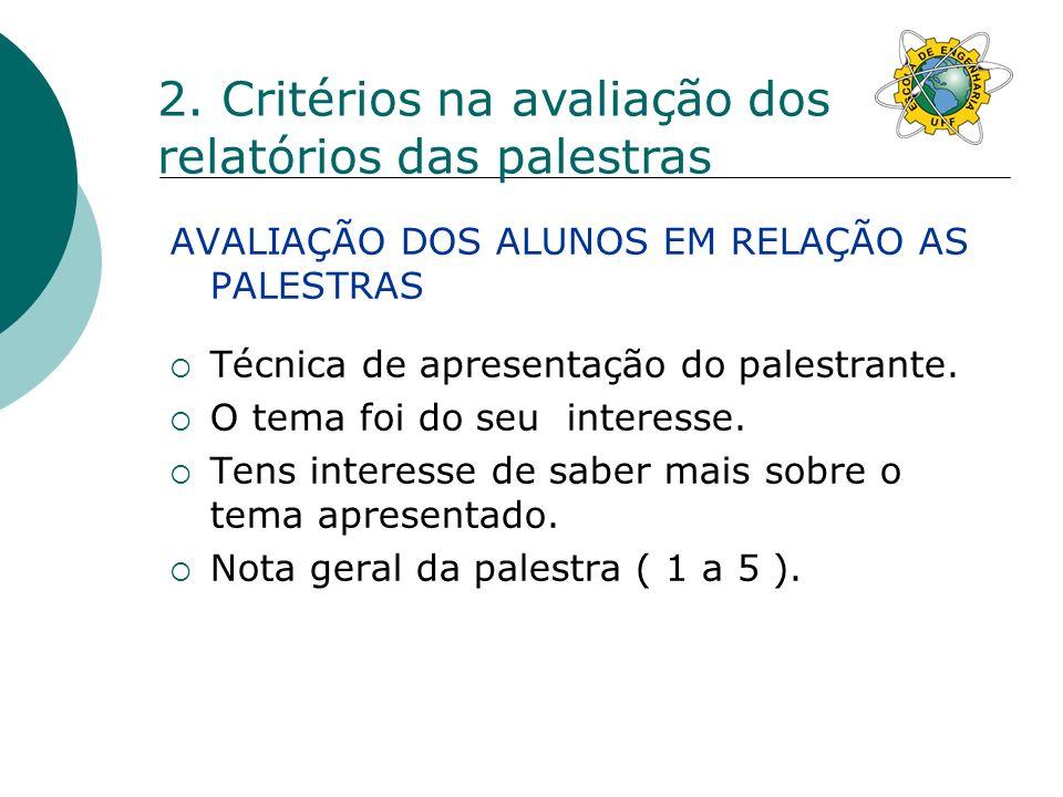 2. Critérios na avaliação dos relatórios das palestras
