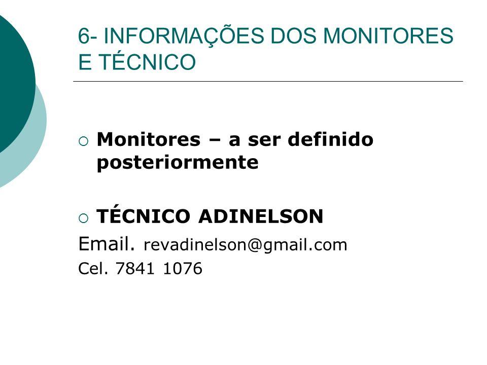 6- INFORMAÇÕES DOS MONITORES E TÉCNICO