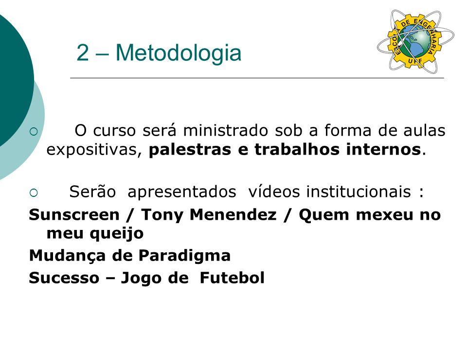 2 – Metodologia O curso será ministrado sob a forma de aulas expositivas, palestras e trabalhos internos.