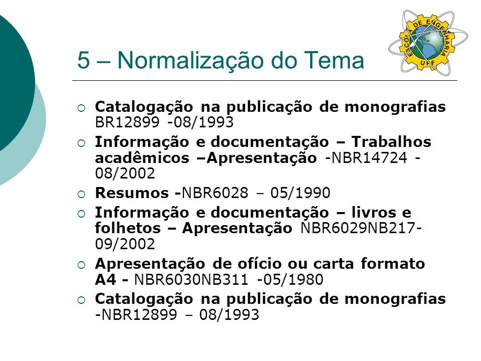 5 – Normalização do Tema Catalogação na publicação de monografias BR12899 -08/1993.